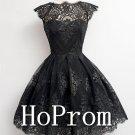 Cap Sleeve Homecoming Dresses,Black Lace Prom Dresses