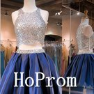 Two Piece Homecoming Dresses,Sliver Sequin Prom Dresses