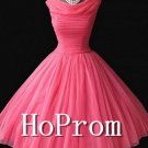 Vintage Watermelon Homecoming Dresses,Chiffon Prom Dresses