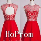 Red Beading Homecoming Dresses,Backless Prom Dresses