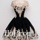 Cap Sleeve Homecoming Dresses,Applique Prom Dresses