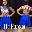 High Neck Homecoming Dresses,Two Piece Prom Dresses