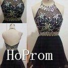 A-Line Halter Homecoming Dresses,Black Prom Dresses