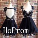 Sweetheart Black Homecoming Dresses,Backless Prom Dresses