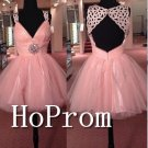 V-Neck Pink Homecoming Dresses,Short Tulle Prom Dresses