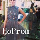 High Neck Homecoming Dresses,Grey Tulle Prom Dresses