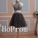 Two Piece Homecoming Dresses,Beaded Short Prom Dresses