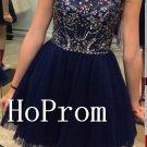 Navy Blue Homecoming Dresses,Short Beading Prom Dresses