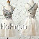 Crystal Beading Homecoming Dresses,Short White Prom Dresses