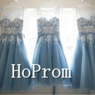 Sleeveless Blue Homecoming Dresses,Lace Prom Dresses