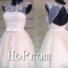 High Collar Homecoming Dresses,Sleeveless Tulle Prom Dresses