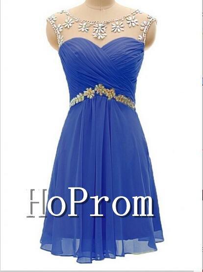 Scoop Chiffon Homecoming Dresses,Beading Prom Dresses