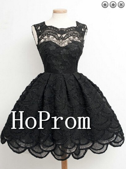 Black Lace Homecoming Dresses,Sleeveless Prom Dresses