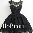 Black Lace Homecoming Dresses,Sleeveless Prom Dresses