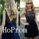 V-Back Beading Homecoming Dresses,Sleeveless Prom Dresses