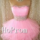 Short Mini Homecoming Dresses,Pink Tulle Prom Dresses