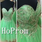 Sweetheart Beaded Homecoming Dresses,Green Tulle Prom Dresses