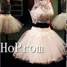 Two Piece Homecoming Dresses,Lace Tulle Prom Dresses