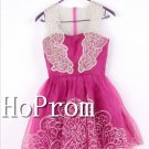 Sleeveless Organza Homecoming Dresses,Hot Pink Prom Dresses