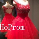 Scoop Sleeveless Homecoming Dresses,Red Mini Prom Dresses