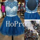 Blue Beading Homecoming Dresses,Short Chiffon Prom Dresses