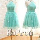 Spaghetti Straps Dresses,Mint Green Prom Dresses