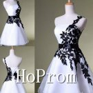 One Shoulder Homecoming Dresses,Black Applique Prom Dresses