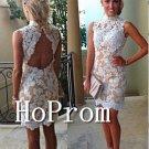 Sleeveless Short Homecoming Dresses,Lace Sheath Prom Dresses