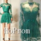 Long Sleeve Homecoming Dresses,Green Lace Prom Dresses