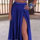 Two Piece Prom Dress,Blue Beading Prom Dresses
