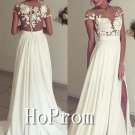 Short Sleeve Prom Dress,Lace Chiffon Prom Dresses