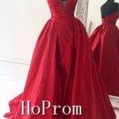 A-Line Red Prom Dress,Floor Length Prom Dresses