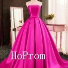 Strapless Satin Prom Dress,A-Line Prom Dresses