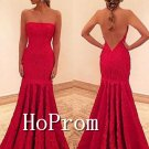 Mermaid Lace Prom Dress,Strapless Red Prom Dresses
