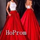 White Red Prom Dress,Two Piece Prom Dresses