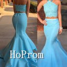 Two Piece Prom Dress,Halter Blue Prom Dresses