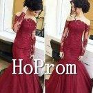 Long Sleeve Prom Dress,Mermaid Lace Prom Dresses