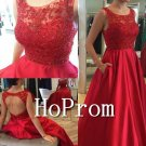 Sleeveless Red Prom Dress,Backless Long Prom Dresses