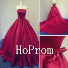 Strapless Red Prom Dress,A-Line Prom Dresses