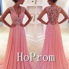 Sleeveless Pink Prom Dress,V-Neck Prom Dresses