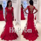 Red Lace Prom Dress,Backless Red Prom Dresses