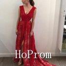 Sleeveless Red Prom Dress,Floor Length Prom Dresses