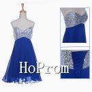 A-Line Beaded Prom Dress,Blue Short Prom Dresses