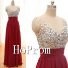 Sleeveless V-Neck Prom Dress,Crystal Beaded Prom Dresses