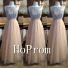 A-Line Tulle Prom Dress,Sequined Prom Dresses