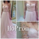 Long Sleeve Prom Dress,Pink Chiffon Prom Dresses