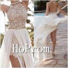 Halter White Prom Dress,Open Back Prom Dresses