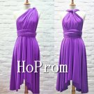 Knee Length Prom Dress,Purple Chiffon Prom Dresses