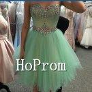 Short Beading Prom Dress,Green Organza Prom Dresses