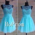 Blue Beading Prom Dress,Short Tulle Prom Dresses